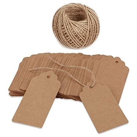 100* Blank Kraft Paper Tags Wedding Party Favor Label Card Gift s Price O5O9