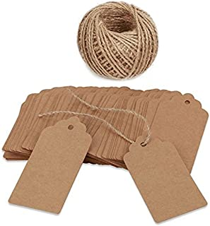 100 PCS Kraft Paper Gift Tags with String Blank Gift Tag Vintage Wedding Favor Hang Tags with 100 Feet Natural Jute Twine Retangle Tags for Crafts & Price Tags Labels