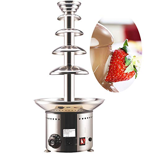 CO-Z 5-Tier Heated Commercial Retro Chocolate Fondue Fountain, 27.6 Inches Stainless Steel 6.6lb to 8.8lb Basin, Auto Temperature Control 86°- 230° F, For Kids, Weddings, Parties, Events, Restaurants