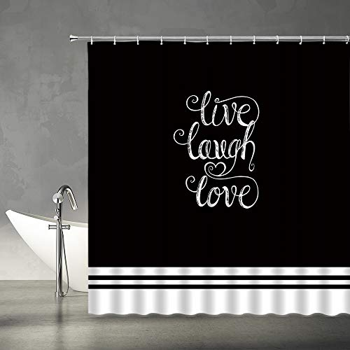 AMFD Live Laugh Love Shower Curtain Black and White Bath Curtains Motivational and Inspirational Quote Modern Fashion Fabric Bathroom Decor Set 70x70 Inches with Hooks