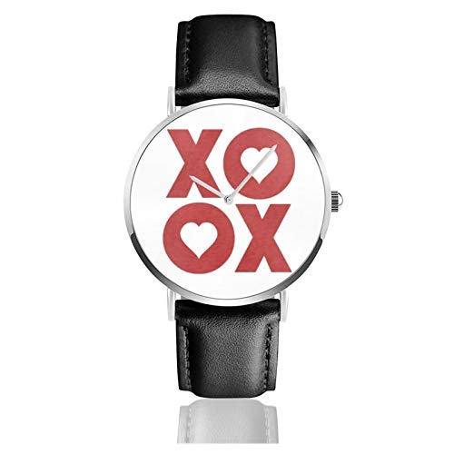 Xoxo Hugs and Kisses Valentine's Day Men Wrist Watches Genuine Leather For Gents Teenagers Boys
