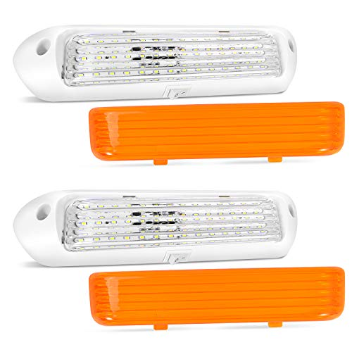 BlueFire Upgraded Super Bright 12V LED RV Porch Lights RV Exterior Lights Porch Utility Light RV Replacment Lights with ON/Off Switch, Clear and Amber Removable Lens for RV, Trailer, Camper (2 Pack)