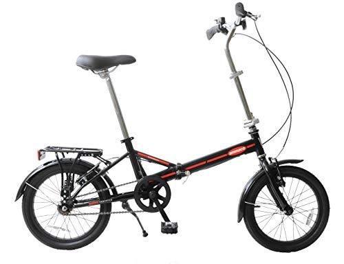 Ammaco. Compact 16' Wheel Folding Foldable Stowaway Bike Single Speed Lightweight UK Holidays, Caravans Black/Red