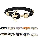 PmseK Armbänder/Bangle Armband, Luxury Couple Bracelets Alloy Anchor Bracelets Bangles Braided Polyester Rope Bracelets for Women Men Gifts Gold KR1018-4 20.5CM
