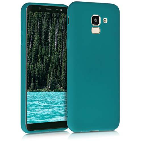 kwmobile Coque Compatible avec Samsung Galaxy J6 - Housse Protectrice pour Téléphone en Silicone pétrole Mat