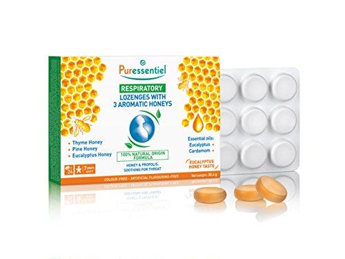 Puressentiel - Respiratoire - Pastilles 3 Miels Aromatiques - Thym, Pin et Eucalyptus Propolis - Adoucit la gorge en cas d'enrouement - Boîte de 24 pastilles