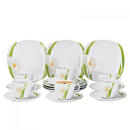 Van Well 18tlg. Kaffeeservice Calla für 6 Pers, Kaffeetassen + Unterteller + Kuchenteller, weiße Blüte, Pflanzendekor, Porzellan-Geschirr, Gastro