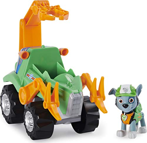 PAW Patrol, veicolo a carica Deluxe Vehicle di Dino Rescue Rocky con dinosauro misterioso