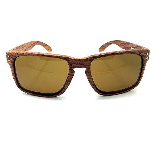 KISS Gafas de sol WOOD Line - mod. RACING FLAT Wood Effect - coches deportivos y motos para hombres y mujeres - LIGHT WOOD