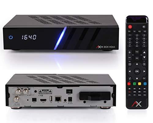 AX HD61 4K UHD Digital Linux Twin Satreceiver mit 2X DVB-S2X Tuner, PVR Aufnahme, HDTV, 2160P, HDR10, HDTV, EPG, für Satellit, mit HDMI Kabel [vorprogrammiert für Astra & Hotbird] mit 1TB Festplatte