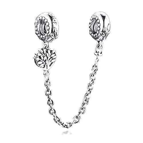 COOLTASTE 2021 San Valentín regalo árbol familiar corazón cadena de seguridad plata 925 DIY se adapta a pulseras originales Pandora encanto joyería de moda