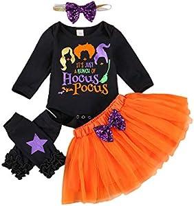 Carolilly - Pelele de manga larga para bebé con diseño de murciélago + falda naranja con lazo + patucos negros con estrellas naranja 12-18 Meses