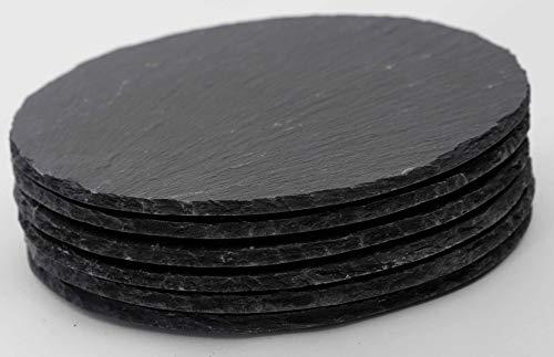 Novaliv 6X Schieferplatten I rund I 15x0,5 cm I Sushi Servierplatten Untersetzer Käseplatte Tischplatz Schiefer Geschirr Platte schwarz