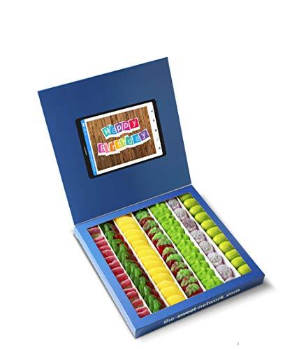 Caja golosinas Facebook 23x23cm con mensaje HAPPY BIRTHDAY, su interior contiene 750g de golosinas Fruit