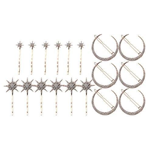 Bonarty 18 Stücke Damen Haarspange Mond Sterne Form Haarnadel Geschenke Für