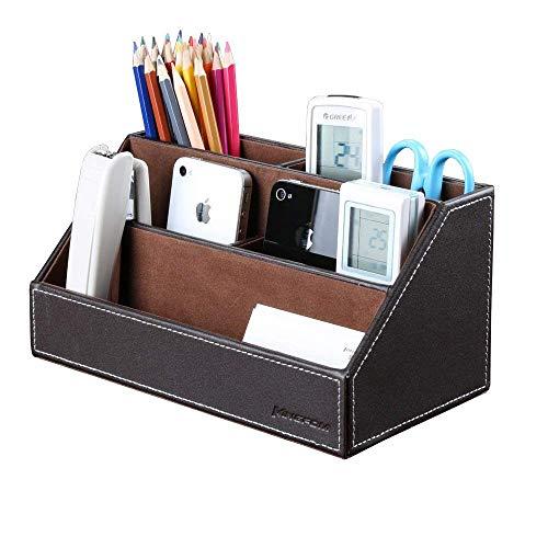 KINGFOM Organizador de escritorio, estructura de madera y piel, multifuncional