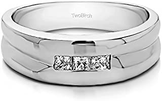 TwoBirch Sterling Silver Princess Cut Channel Set Men's Wedding Ring With Cubic Zirconia(0.33Ct. Size 13)