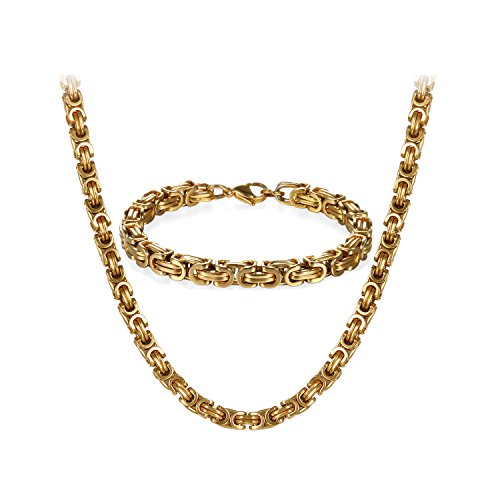 JewelryWe Schmuck Edelstahl Ketten Set von Halsketten und Armketten für Herren Gold golden Armbändern 8mm breit und 21,5 cm für Armband, 22 Zoll für Halskette