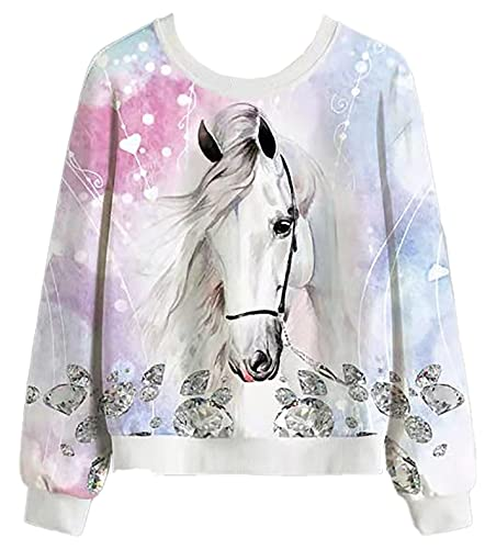 Generic Mädchen Sweatshirt Pullover Streetwear Oberbekleidung (Pferde Kopf, 152)