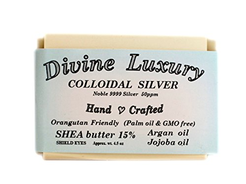 Colloidal Silver Soap Bar UNSCENTED DivineLuxurySoap - All Natural, No Palm Oil, Feel Clean, Safe, Bubbly, anti viral