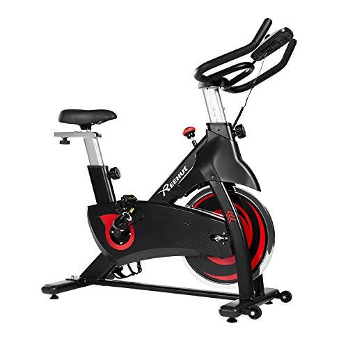 REEHUT Bicicleta Estática Bicicleta Spinning Interior 10 Kg Dinámica de Rueda Volante con Sólido Marco Triangular Amplio Asiento y LCD Pantalla Electrónica con Soporte para Teléfono Móvil…