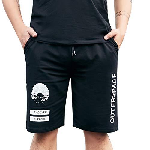 Shorts Uomo Bermuda Pantaloni Corti Tasche per Ciclismo ed attività all'Esterno Stile Moda Stampato (4XL,Nero)