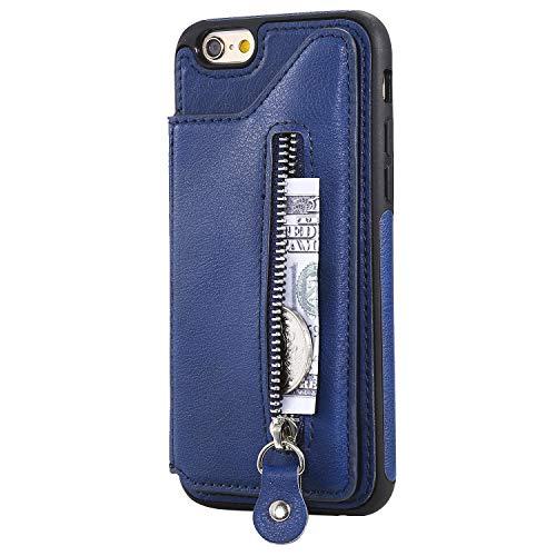 ZCXG Kompatibel Mit Handyhülle iPhone 6 / iPhone 6S Hülle Silikon,Schutzhülle Leder Flip Tasche Geldbörse Damen mit Kartenfach Ständer Funktion Brieftasche Handyhülle für iPhone 6S - Blau