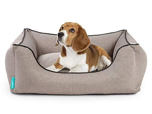 Hyggins Dreamer Plus Hundebett | Orthopädisch, Bezug abnehmbar und waschbar | Boden wasserabweisend (M 80 x 60cm, Graubeige Kontrast-Keder)