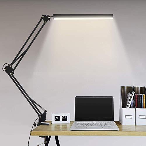 Euch Lámpara de escritorio LED de 14 W, brazo giratorio, lámpara de arquitecto, lámpara de mesa de oficina, con 3 colores y 10 niveles de brillo, protección ocular, incluye adaptador CE, color negro
