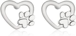 MIXIA Hollow Heart Stud Earrings for Women Pet Dog Pawprint Footprint Earings Cute Cat Animal Pawprint Jewelry