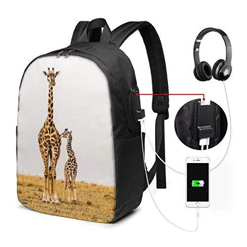 RROOT Unisex Rugzak met USB Opladen Poort Moeder Giraffe met Zijn Jonge Kalf Staand Naast Haar Klassieke Mode Algemene Zakelijke Boekenkast