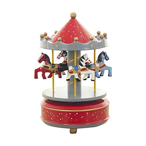 Hölzerne, handbemalte Karussell- Spieluhr