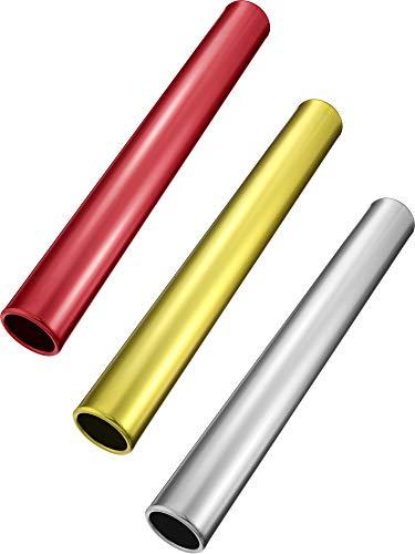 Zhehao Relais Taktstock Track Taktstock Aluminium Feldrennstock Laufstock für Studenten Büro Clark Outdoor Feldrennen-Werkzeuge, 3 Stück (Gold Silber Rot)