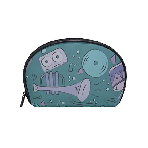 Shell Shape Womens Toiletry Bag Noble Beautiful Retro Musical Piano Print Best Makeup Bag Childs Makeup Bag Portable Travel Multifunction Storage Bag With Zipper For Women
