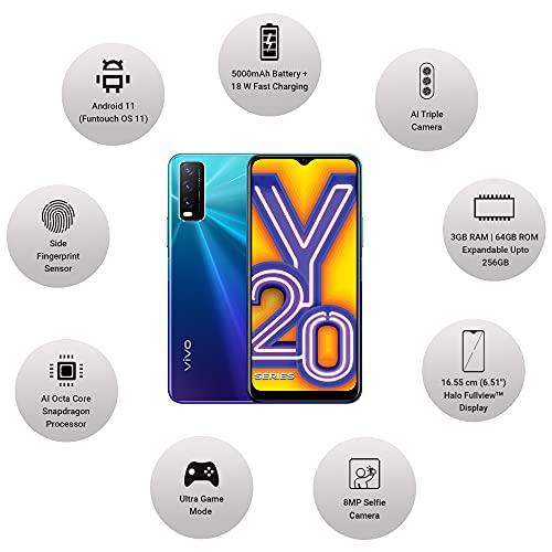 Vivo Y20A 2021 (Nebula Blue, 3GB RAM, 64GB Storage) with No Cost EMI/Additional Exchange Offers 3