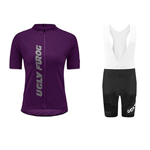 UGLY FROG Pantalones Cortos de Ciclismo de Secado rápido y Transpirable para Mujeres + Pantalones Cortos + Jerseys Acolchados con cojín 3D Set de Jersey de Bicicleta DTWX01