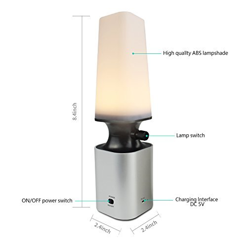 Dxmart Table Lamps, LED Night Light Rechargeable Battery Powered for Bedroom Bedside Bathroom Hallway Kitchen