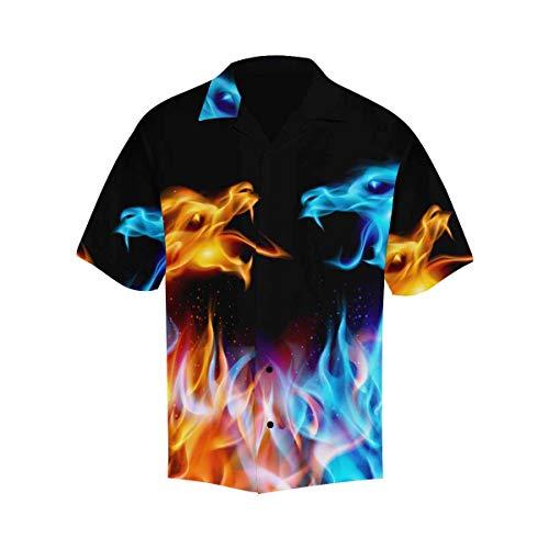 INTERESTPRINT Men's Casual Button Down Short Sleeve Hawaiian Shirt Blue&Red Fiery Dragons XXL