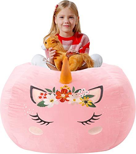 Aubliss Unicorn Stuffed Animal Storage Bean Bag Chair Velvet Cover OnlyToy Storage Bag for Kids Large 38quotVelvet Pink Flower