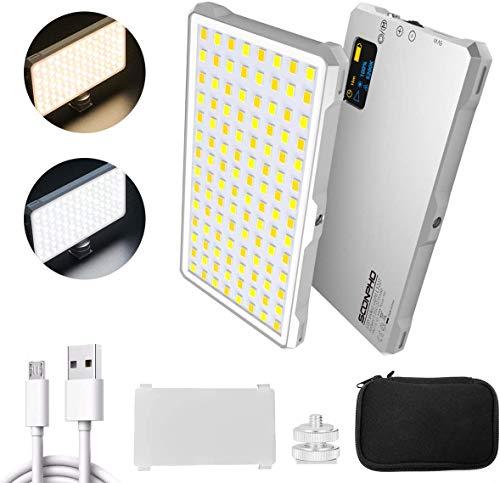Soonpho Lámpara de vídeo LED portátil con iluminación bicolor en cámara con batería integrada para cámara réflex, iPhone, 112 perlas, luz de bolsillo superbrillante para la fotografía de vídeos