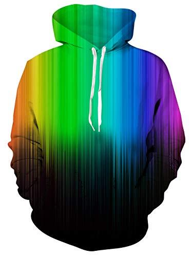 TUONROAD Cool Adult Youth Men Women Hoodies Shirt Jacket Coat Colorful Rainbow Tie-dye Black Paint Graffiti Yellow Green Purple Blue Funny Printing Sweatshirt Long-Sleeve Premium Quality Pullover