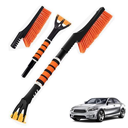 NIBESSER Eiskratzer Auto mit Besen Eisschaber Auto Schneebesen Multifunktionale Rakel Eisschaber und Schneebesen für PKW, LKW und SUV (Orange)