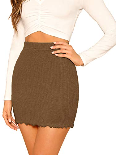 SheIn Women's Ribbed-Knit Stretchy Cotton Short Mini Pencil Bodycon Skirt Brown Small