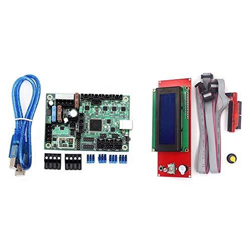 SODIAL 2 Set 3D Printer Part: 1 Set 10-28V -Rambo 1.3 Control Board Set & 1 Set Ramps 1.4 2004 LCD Controller