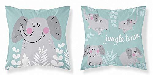 Kinder Baby Kissenbezug 40 x 40 cm 100% Baumwolle mit Reißverschluss (Elefant Dschungel mint)