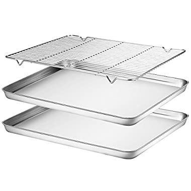 Baking Sheets 2 Pieces with A Rack, HKJ Chef Cookie Sheets and Nonstick Cooling Rack & Stainless Steel Baking Tray & Toaster Oven Pan