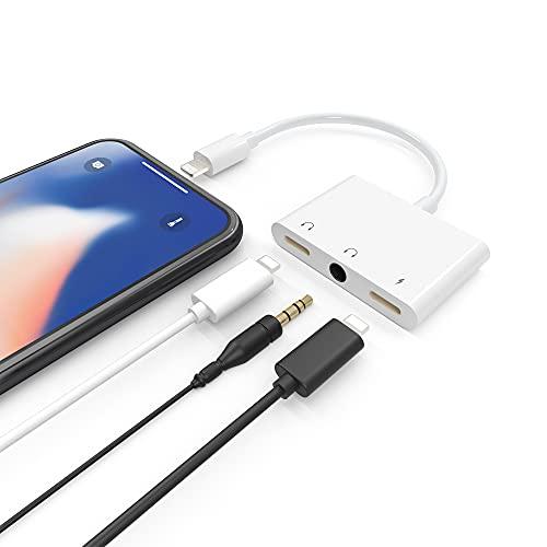 Adaptador de Lig-htn-ing a 3.5 mm Jack para Phone 12, Arkidyn 3 en 1 con doble conector para auriculares y puerto de carga, compatible con 12/11 / X / 8/7, Pad / Pod, compatible con iOS 9.2 and on