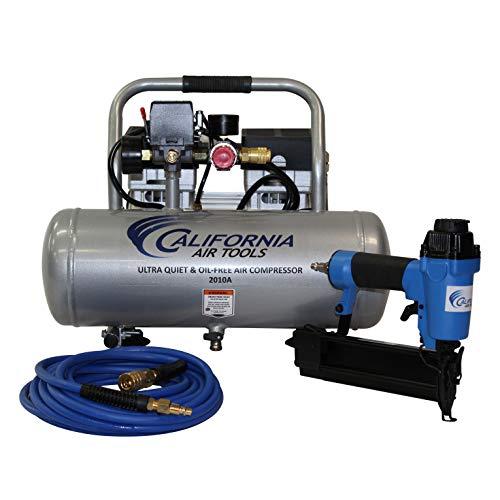California Air Tools 2010AGK18 Ultra Quiet & Oil-Free 1.0 Hp, 2.0 Gal. Aluminum Tank Air Compressor with Nail Gun Kit