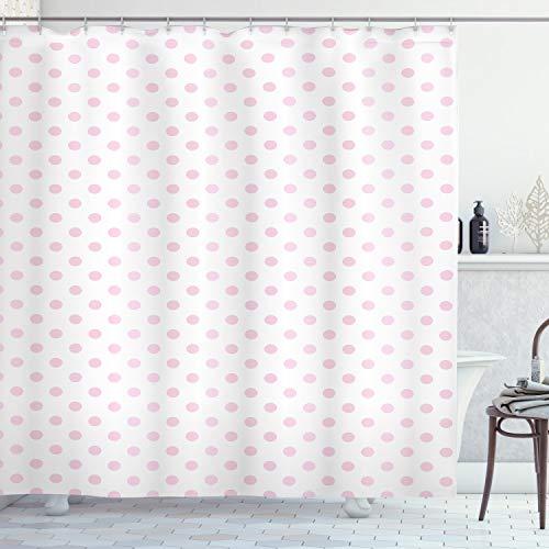 ABAKUHAUS Roze Stippen Douchegordijn, Girl Like Feminine, stoffen badkamerdecoratieset met haakjes, 175 x 220 cm, Baby Pink White