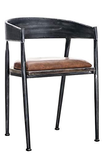 CLP Chaise de Bar Design Industriel Belvedere I Tabouret de Bar Style Industriel Assise Rembourrée Accoudoirs et Dossier I Chaise de Bistro Pieds en Bois I Couleur: Antique-argenté